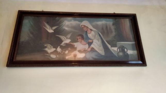 Obraz Maryja z Jezusem karmiącym gołębie