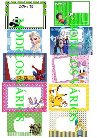 Convites de aniversário Disney, Minnie, Simpsons, Frozen, outros