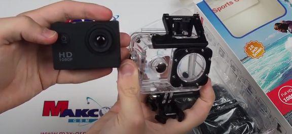 Экшн камера A7 FullHD + аквабокс + крепление на шлем