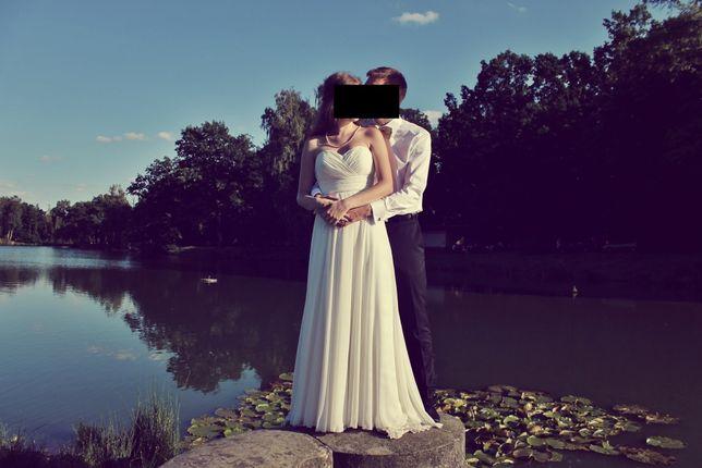 Piękna suknia ślubna Afrodyta, Ridetto, ślub, ecru, śmietanka, 34/36