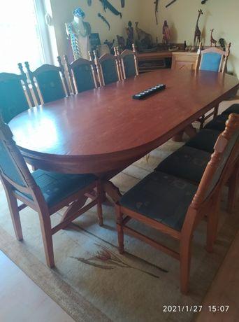 Stół do jadalni rozkładany 12 osób z krzesłami
