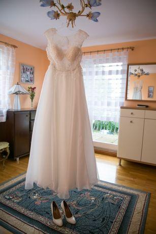 Suknia ślubna, kształt litery A, kolor Ivory