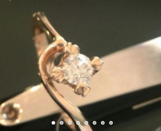 Золотое кольцо с бриллиантом 0,21 карата