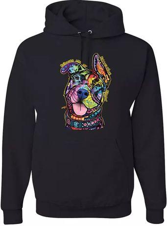 Bluza czarna z kapturem uniseks amstaff kolorowy L