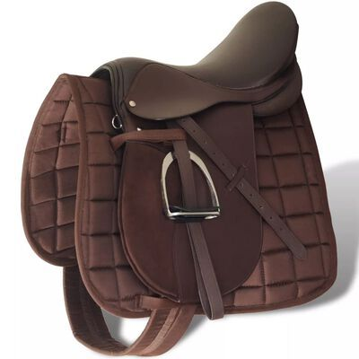 """Sela p/ equitação 17,5"""", couro natural 12cm castanho **envio grátis**"""