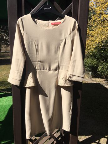 Beżowa sukienka ze zdobieniami r. 36 S Komunia, przyjęcie
