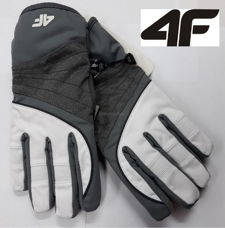 4F Damskie RĘKAWICE zimowe sportowe-narciarskie RED001 białe 6-6,5 S