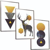 ZESTAW 3 x OBRAZÓW w ramie plakaty KOSMICZNY JELEŃ deer abstrakcja