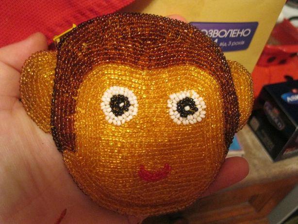 детский кошелек вышит бисером ручная работа и кипра обезьяна сумка