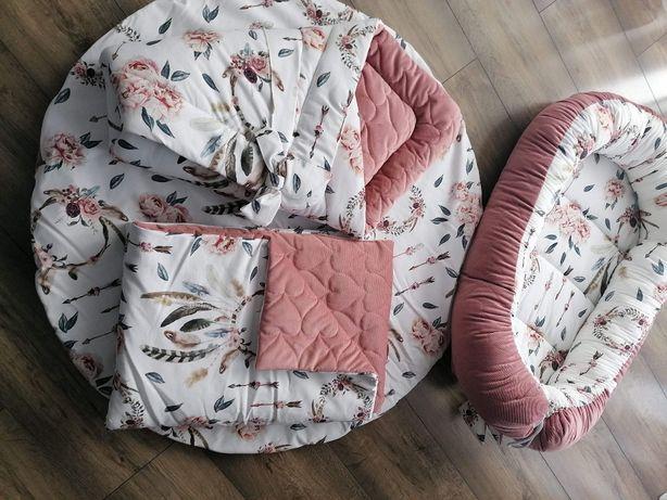 Zestaw Premium 5 el. kokon, rożek kocyk, poduszeczka,motylek