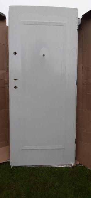 Drzwi Stalowe WEW/Z Braga Biały Lustro 80 P Nowe