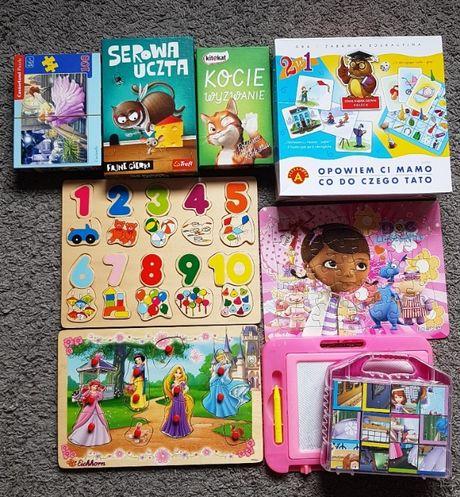 Klocki, puzzle, gry edukacyjne zestaw