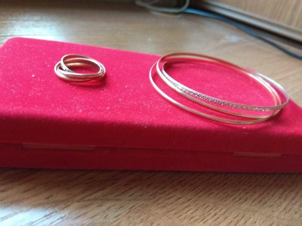 Złota bransoletka i obrączka - pierścionek