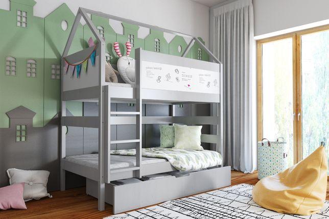DOMEK BIS - łóżko piętrowe sosnowe z pojemnikami na pościel