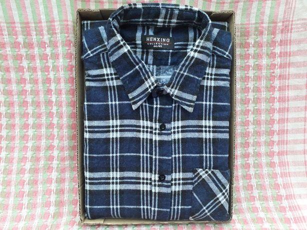 Рубашка мужская демисезонная байковая в клетку от HENXING, L XL 44-45