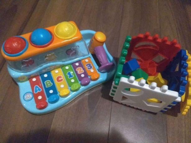Zestaw zabawek dla malucha, klocki + cymbałki
