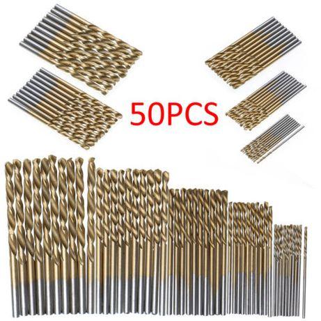50 brocas de ferro revestidas a titânio novas 1mm/1,5mm/2mm/2.5mm/3mm