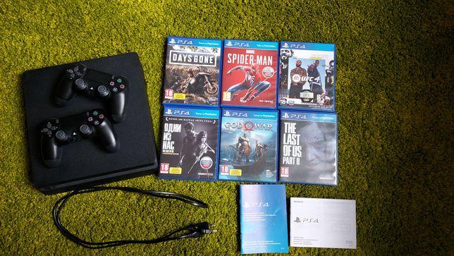 PS4 slim 1tb + 2 дж-ка на гарантии (+11 игр)