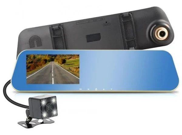 Видеорегистратор зеркало для машины на 2 камеры с камерой заднего вида
