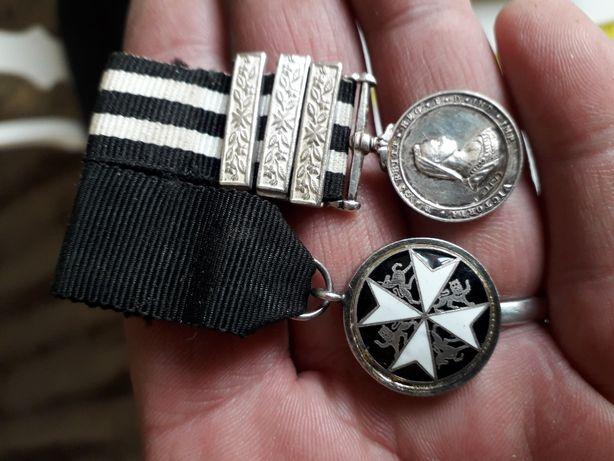Stare srebro odznaczenia medale Królowej Victorii i krzyż św Jana