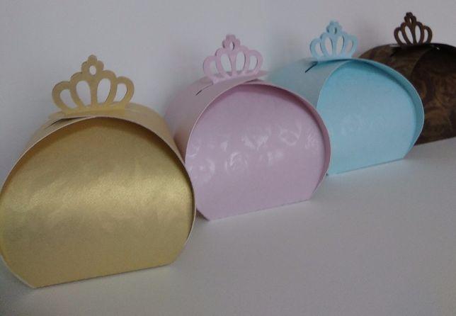 Pudełka podziękowania dla gości korona pudełeczka kolory ślub ślubne