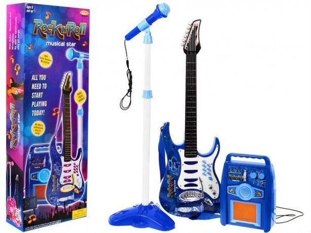 Elektryczna gitara + mikrofon + regulowany statyw/stojak + PIEC