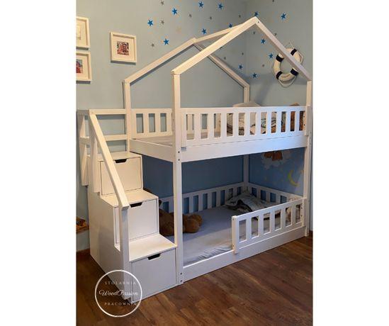 Łóżko piętrowe domek ze schodkami