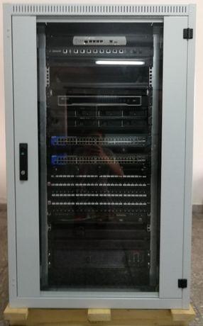 Lote c/ Rack 19'' & equipamento de rede