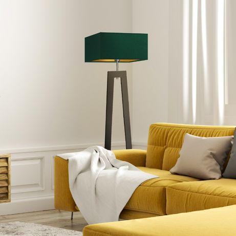 Drewniana lampa podłogowa JAWA GOLD abażur złote wnętrze E27