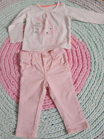 Śliczny komplet dla dziewczynki, bluzka i spodnie 62