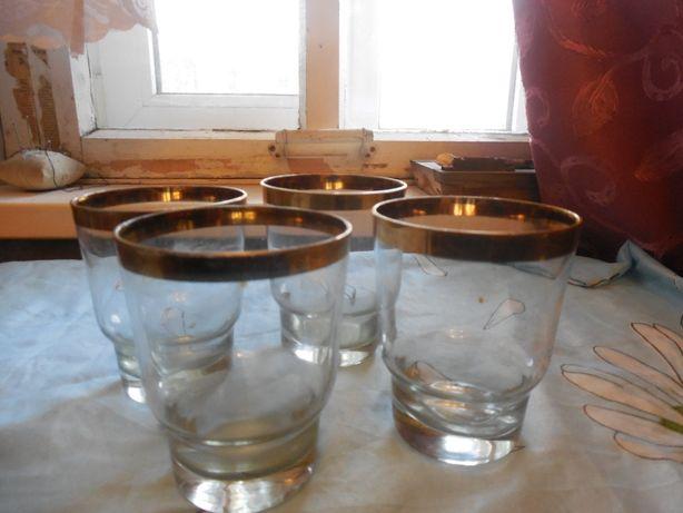 стаканы 4 шт с позолотой