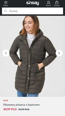 Pikowany płaszcz z kapturem L / XL nowy z metką