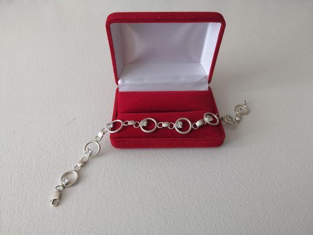 Piękna bransoletka z cyrkoniami - srebro 925.