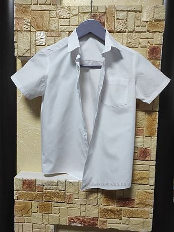Sale. Рубашка белая George 6-8лет короткий рукав