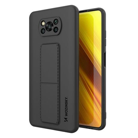 Capa Silicone Traseira Wozinsky Kickstand Case Flexible Cover A Stand Xiaomi Poco X3 Nfc / Poco X3 Pro Preto