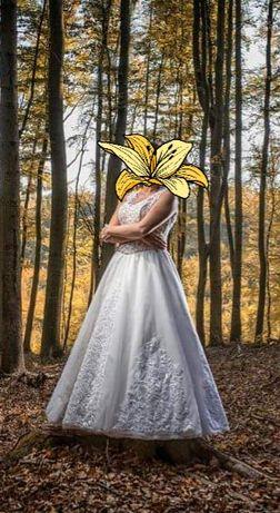 Suknia ślubna 40/44 rustykalna, koronka, zdobienia