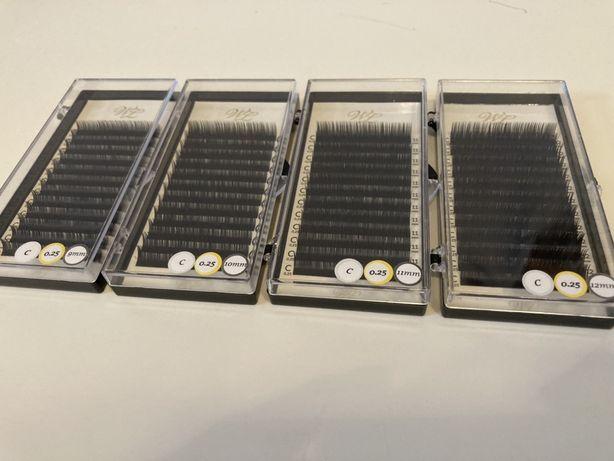 Paletka rzęs skręt C grubość 0,25 od 9 mm do 12 mm.
