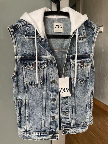 Bezrękawnik jeansowy z kapturem Nowy r. S