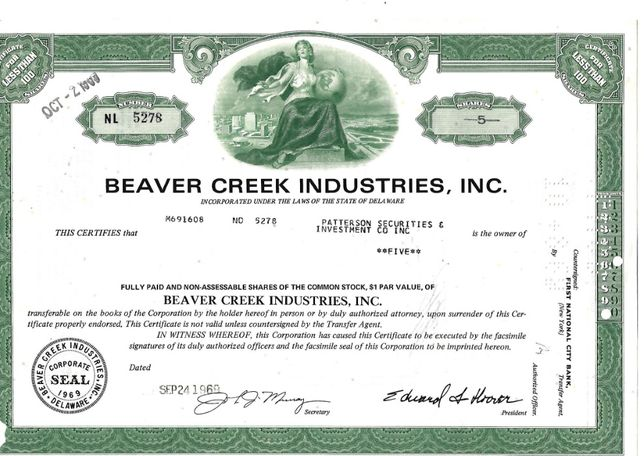 Bonds Shares Ações Beaver Creek Industries, Inc 1969 USA