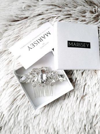 Ozdoba ślubna grzebień do włosów kryształki Swarovski Marisey wianek