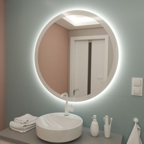 Okrągłe Lustro 30 cm BEZ PODŚWIETLENIA LED, z drukowaną białą ramką
