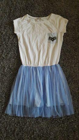 Sukienka tiul roz 36 biało niebieska