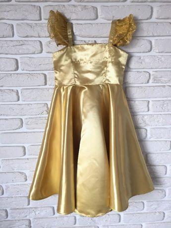 Праздничное платье атласное золотого цвета, рост 98