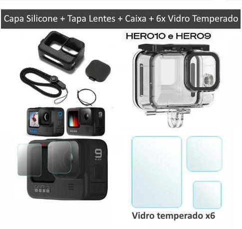 GoPro 10 e 9 Black - Caixa + Capa Silicone + Vidro Temperado(x6) -Novo