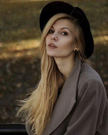 Шляпа чёрная фетровая классическая широкие поля винтажный стиль