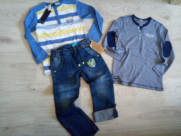 Mały zestaw 122 dla chłopaka spodnie bluzki jak nowe