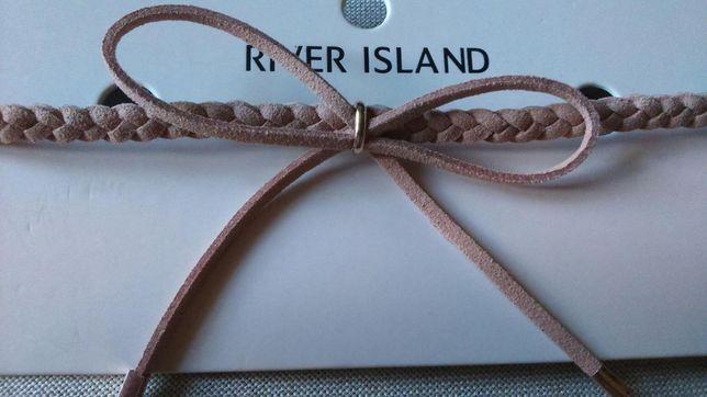 Choker River Island, zgaszony róż, regulacja zapięcia, kokardka