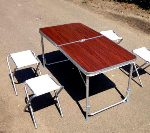 Стіл з 4-ма стільцями ( розкладний алюмінєвий) 0,6х1,2м