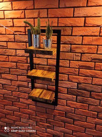 Półka loft drewno metal postarzana Indiustrialna