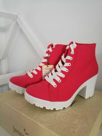 Nowe buty r. 36 trzewiki na obcasie Jenny Fairy, kolor malinowy